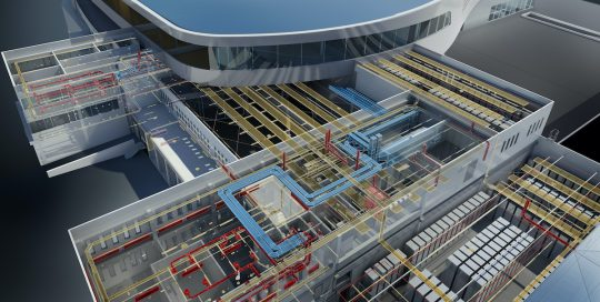 Wide 16x9 banner version of the AutoCAD Revit MEP Suite 2013 hero image. CAPTION (see Marketing Guidelines Site for caption usage details): Rendering of shopping mall in Ljubljana, Slovenia, highlighting mechanical, electrical, and plumbing systems. Autodesk(r) Revit(r) MEP, Autodesk(r) Revit(r) Architecture,  Autodesk(r) Revit(r) Structure, and Autodesk(r) 3ds Max(r) software products were used in the design process. Image courtesy of ATP.